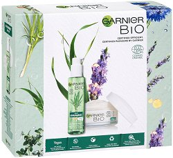 Подаръчен комплект - Garnier Bio - Почистващ гел за лице и дневен крем против стареене - крем
