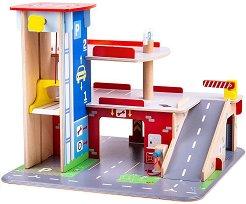 Паркинг с асансьор - Дървен комплект за игра -