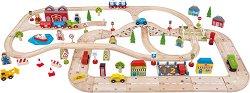Град - Дървен комплект за игра с релси и аксесоари -