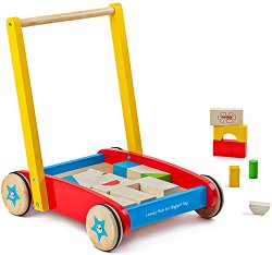 Дървена количка за бутане - В комплект с конструктор -