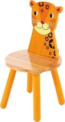 Детско дървено столче с обегалка - Леопард -