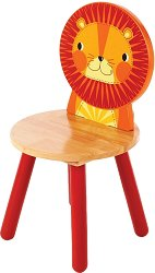 Детско дървено столче с облегалка - Лъвче -