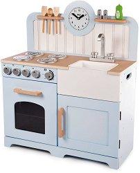Детска дървена кухня - Кънтри - Детски комплект за игра с аксесоари -