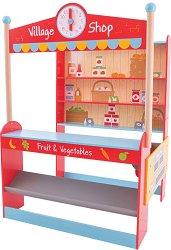 Магазин за хранителни продукти - Дървен комплект за игра с височина 138 cm -