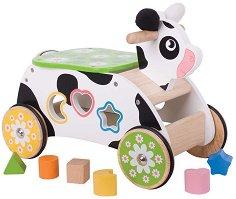 Кравичка със сортер - Детска дървена играчка за яздене и сортиране -