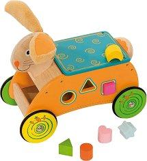 Зайче със сортер - Детска дървена играчка за яздене и сортиране -