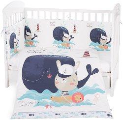Бебешки спален комплект от 3 части с обиколник - Happy Sailor EU Style - 100% ранфорс за легла с размери 60 x 120 cm или 70 x 140 cm -