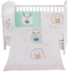 Бебешки спален комплект от 3 части с обиколник - New Friends EU Style - 100% ранфорс за легло с размери 60 x 120 cm -