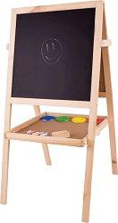 Двустранна магнитна дъска със стойка - Образователен комплект с боички, тебешири и гъба - играчка