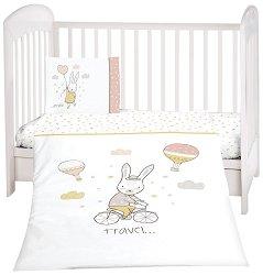 Бебешки спален комплект от 3 части - Rabbits In Love - 100% ранфорс за матраци с размери 60 x 120 cm и 70 x 140 cm -