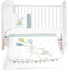 Бебешки спален комплект от 3 части - Elephant Time - 100% ранфорс за матраци с размери 60 x 120 cm и 70 x 140 cm -