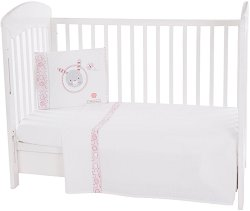 Бебешки спален комплект от 3 части - Pink Bunny EU Style - 100% ранфорс за матрак с размери 70 x 140 cm -