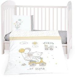 Бебешки спален комплект от 5 части - Joyful Mice - 100% ранфорс за матраци с размери 60 x 120 cm и 70 x 140 cm -