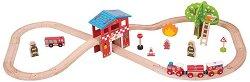 Влакова композиция - Пожарна станция - играчка