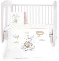Бебешки спален комплект от 5 части - Rabbits In Love - 100% ранфорс за матраци с размери 60 x 120 cm и 70 x 140 cm -