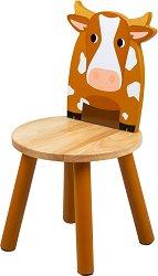 """Детско дървено столче с облегалка - Кравичка - От серията """"Tidlo"""" -"""