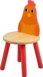 """Детско дървено столче с облегалка - Пиленце - От серията """"Tidlo"""" -"""