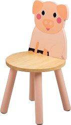 """Детско дървено столче с облегалка - Прасенце - От серията """"Tidlo"""" -"""