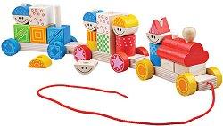 Низанка - Влакче - Дървена играчка за дърпане - басейн