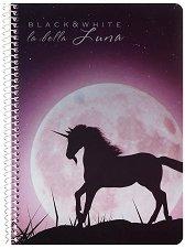 Ученическа тетрадка със спирала - La bella Luna : Формат А5 с широки редове - 1, 5 или 10 броя -