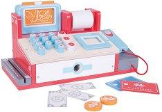 Касов апарат с баркод скенер - Детски дървен комплект за игра с аксесоари -