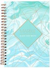 Ученическа тетрадка със спирала и твърда корица - Marble : Формат А4 с широки редове -