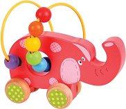 Слонче с лабиринт - Детска дървена играчка за бутане -