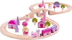 Влакова композиция - Магичен свят - Детски дървен комплект за игра с аксесоари -