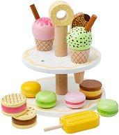 Двуетажен поднос със сладкиши и сладолед - Детски дървен комплект за игра с аксесоари -
