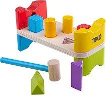 Наковалня с фигурки и чукче - Детски дървен образователен комплект за игра - играчка