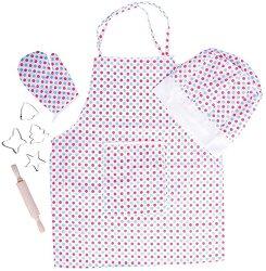 Детска готварска униформа - Комплект от престилка, шапка, точилка, ръкавица и формички за сладки -