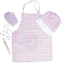 Детска готварска униформа - Комплект от престилка, шапка, точилка, ръкавица и формички за сладки - играчка