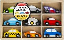 Превозни средства - Комплект от 9 дървени играчки -