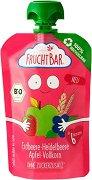 FruchtBar - Био пюре с ягода, боровинка, ябълка и пълнозърнест микс - Рециклируема опаковка от 100 g за бебета над 6 месеца - пюре
