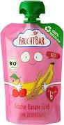 FruchtBar - Био пюре с череша, банан и грис - Рециклируема опаковка от 100 g за бебета над 6 месеца - пюре