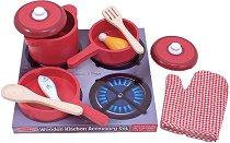 Съдове и прибори за готвене - Детски дървен комплект за игра -