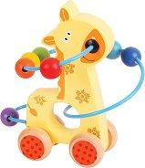 Жирафче с лабиринт - Дървена играчка за бутане -