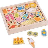 Дървени магнити - Морски бряг - играчка