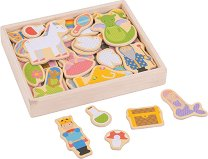 Дървени магнити - Фантастичен свят - Комплект от 35 елемента за игра - образователен комплект