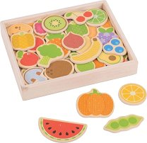 Дървени магнити - Плодове и зеленчуци - творчески комплект