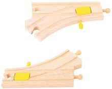 Дървени релсови разклонения с механични превключватели -