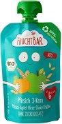 FruchtBar - Био пюре с праскова, ябълка и микс 3 зърна - пюре
