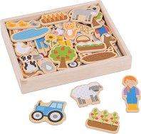 Дървени магнити - Ферма - играчка