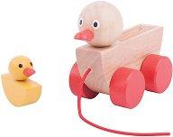 Мама пате и малко патенце - Дървена играчка за дърпане -