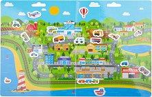 Превозните средства в града - Детски образователен комплект с многократни стикери - играчка
