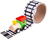 Железопътна линя - Комплект за игра с дървено локомотивче -