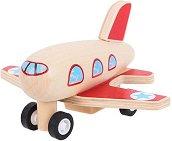 Дървено самолетче - Играчка с pull-back механизъм -