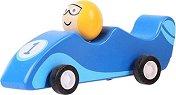 Състезателен автомобил - Дървена играчка с pull-back механизъм -