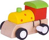 Влакче с часовников механизъм - Детска дървена играчка -