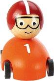 Състезател в количка - Дървена детска играчка с pull-back механизъм - играчка